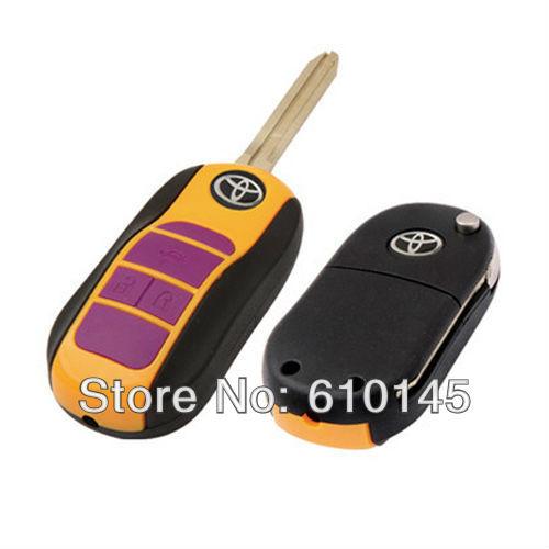 K569 folding remote car key. camry left 3 bottoms brass blank key(China (Mainland))
