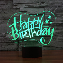 "Creative ""happy birthday"" gift 3d illusion lamp colorful touch LED visual night lights indoor decor party atmosphere table lamp(China (Mainland))"
