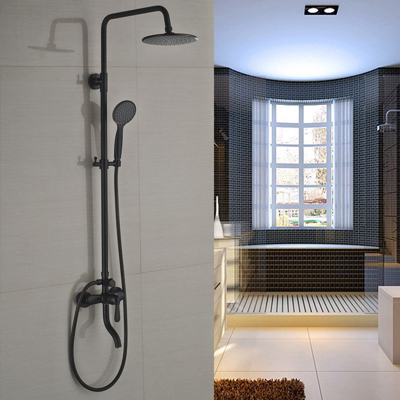 """Single Handle Swivel Tub Shower Mixer Faucet Wall Mount 8"""" Rainfall Shower System with Handshower(China (Mainland))"""