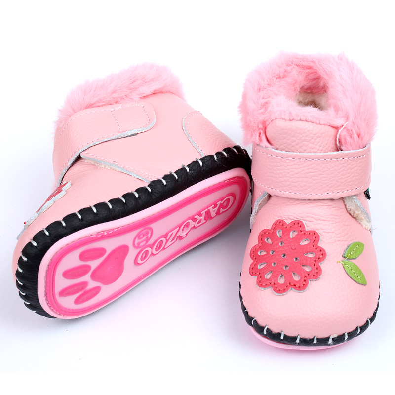 Baby Boots For Girl Winter Baby Shoes Soft Leather Rabbit Fur Warm Pink Flower Newborn Baby Girls Boys First Walkers Soft Sole(China (Mainland))