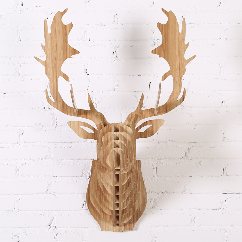 2016 new fallow reindeer head diy wooden wall home decor for Moose decorations home