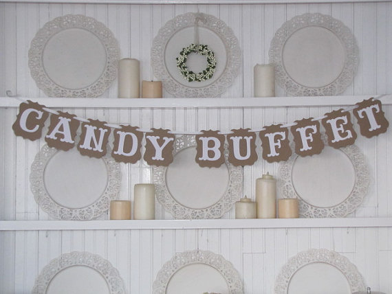 """Popular"""" CANDY BUFFET"""" Wedding Dessert Table Party Banner Sign Decor(China (Mainland))"""