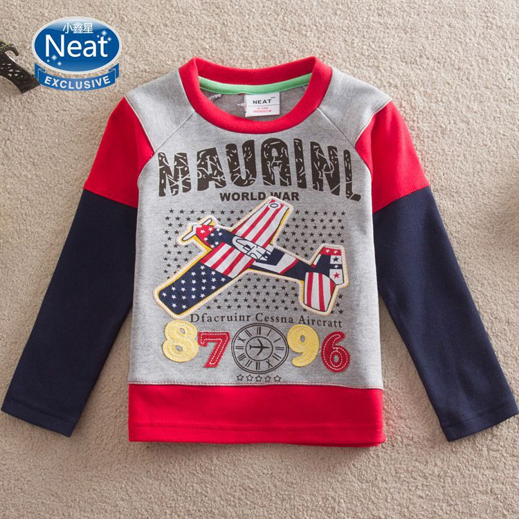 NEAT(nova sister brand) 2014 new t-shirts cartoon baby boys long sleeve embroidery Aircraft children clothing kids wear L869#<br><br>Aliexpress