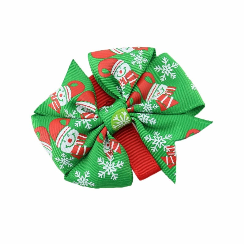 2015 New Fashion Christmas Snowflake Bow Hair Clip Baby Red And Green Bows Newborn Hairpin Kids Girl Accessories Gift(China (Mainland))