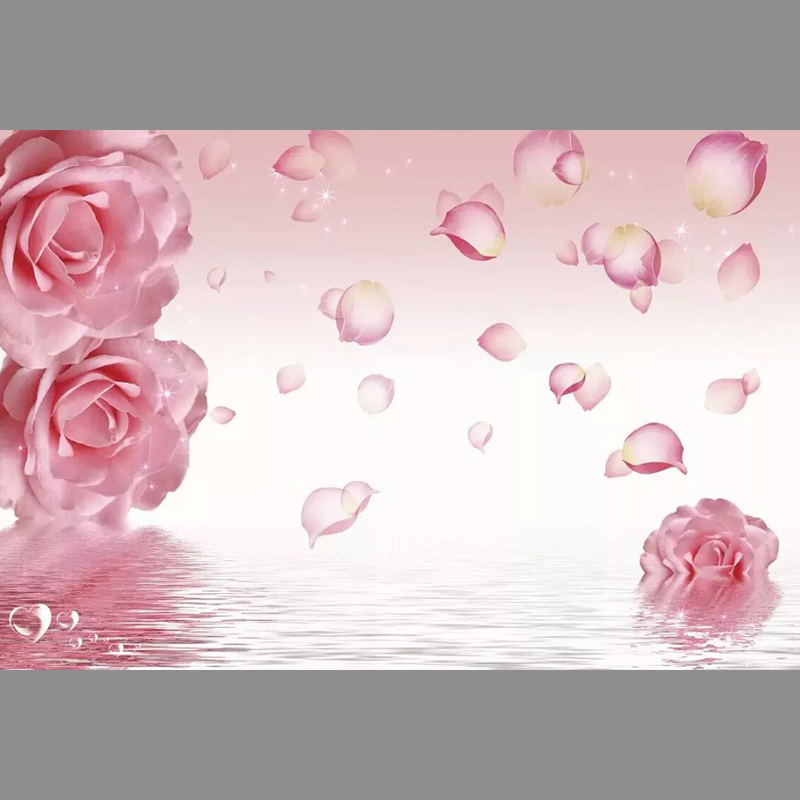 Pink rose up the water Unseamed silk cloth Custom photo wallpapers 3D wall papers backdrop mural wallpapers background