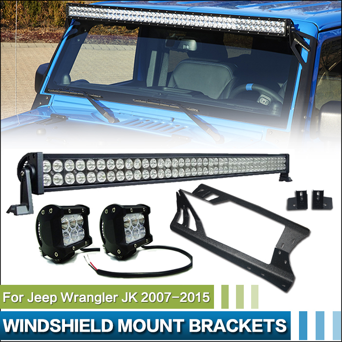 Система освещения Brand New 52' 300W 21000LM + 2 4' 18W 1260Lm Offroad + Jeep Wrangler JK black chrome 45w high low beam headlight 7 inch round daymaker projector light for jeep wrangler jk tj offroad 4x4 lada niva
