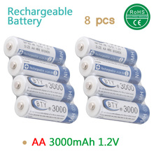 8pcs 1.2v battery AA 3000mAh NI-MH Rechargeable bty battery CELL RC quality strong Bateria Batteries Eco-Products free ship(China (Mainland))
