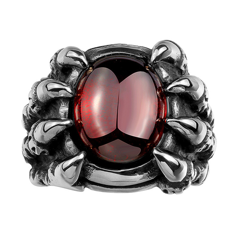 Trendy Top Quality Mens Jewelry Punk Stainless Steel Red Opal Sharp Claw Finger Rings (LK1520)(China (Mainland))