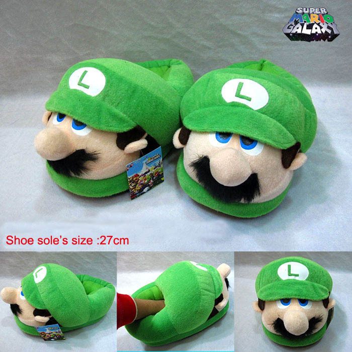 27cm Super Mario Bros Slippers Stand Peluche Bonecos Mario Bross Warm Slipper For Winter(China (Mainland))