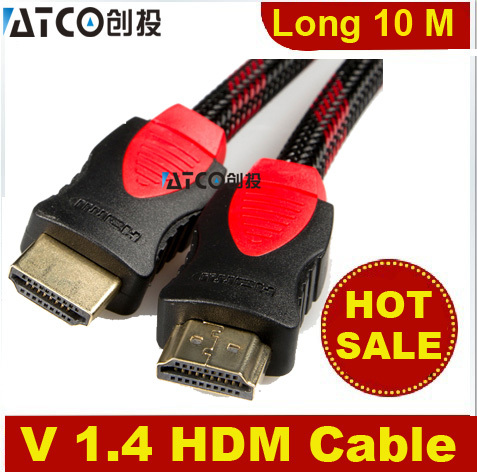 Freeshipping 10M 33FT V1.4 High Speed HDMI to HDMI Cable with Ethernet Black HDMI For XBOX TVBOX 3d projector TV,,(China (Mainland))