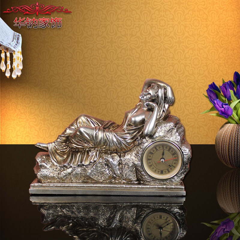 European resin crafts ornaments Home Furnishing study bedroom quiet beauty clock pendulum(China (Mainland))