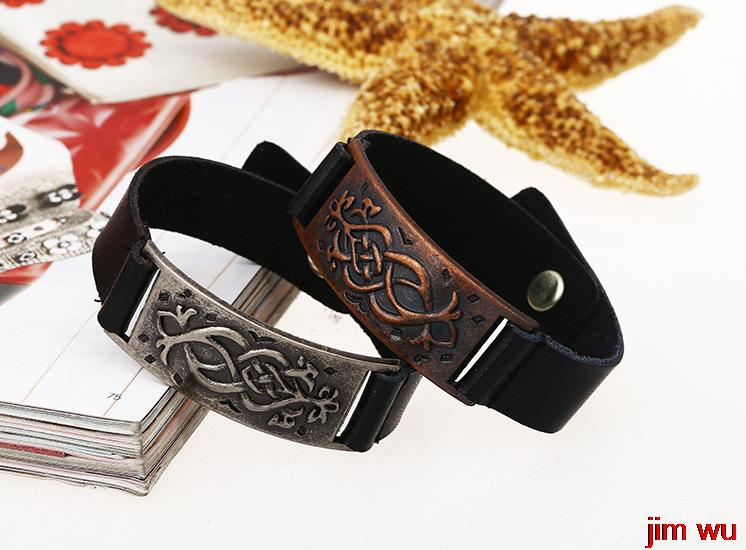 Manufacturers selling alloy cowhide jewelry products foreign trade the original single personality punk bracelet(China (Mainland))