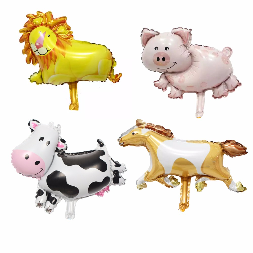 10pcs MIni Animals Shaped balloon lion cow pig horse mini cartoon foil balloons kids toy wedding birthday party decoration(China (Mainland))
