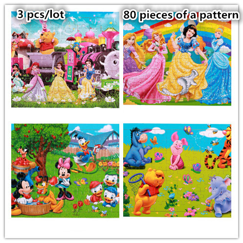 3pcs/lot animal cartoon 80 pieces of a Pattern wooden puzzles jigsaw Board tangram Educational Learning child Kids toys(wxt012)