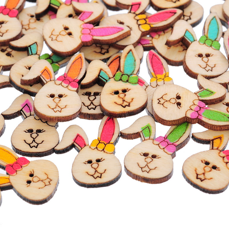 50PCs 2 Holes Mixed Painted cute animals Wooden Buttons Rabbit Randomly Mixed Decoration Clothing Accessories(China (Mainland))