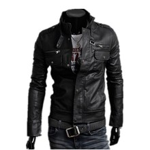 hot sale 2015 new men's leather jacket catwalks shall Slim Motorcycle PU leather Coat high quality 3 color 4 size(China (Mainland))