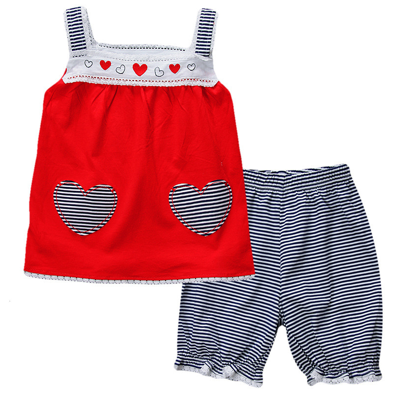 Free Shipping 6sets/lot 2015 New Model Children Clothing 18M-6T Little Girl's Sling Vest Top and Blue Stripe Shorts Set(China (Mainland))