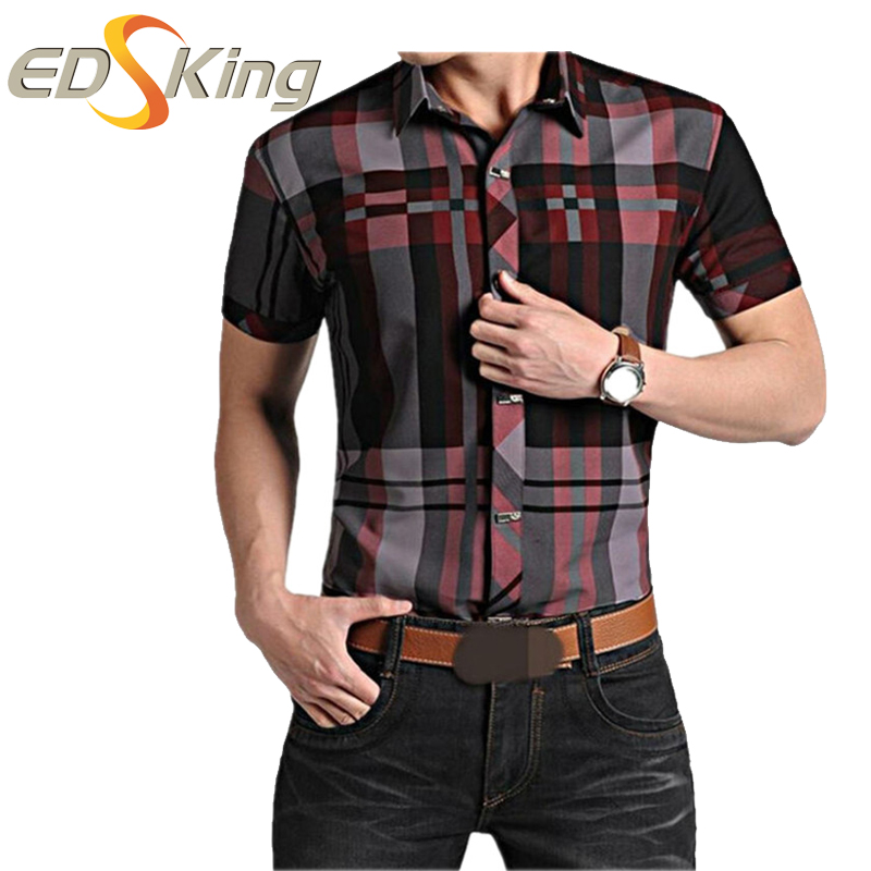 Mens Short Sleeve Shirts Plaid Print Dress Man Social Military Style Shirt Male Clothes For Blouse Of Large Sizes Brand-Clothing(China (Mainland))