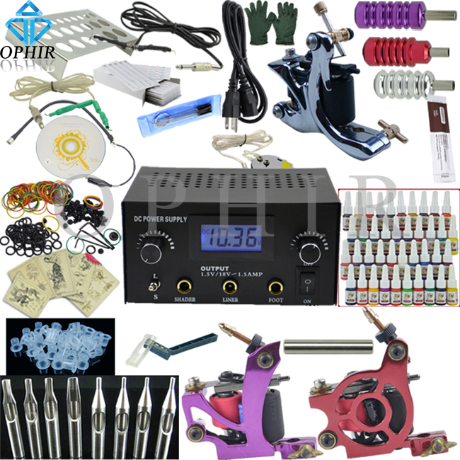 OPHIR Professional Tattoo Kits 3 Rotary Tattoo Machine LCD Power Supply 40 Tattoo Inks & 50 pcs Needles Grips Set Body Art#TA005(China (Mainland))