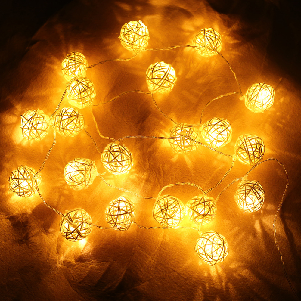20pcs White Thailand Style Funlife Wedding Party String Lights Hand Weaved Rattan String Ball ...
