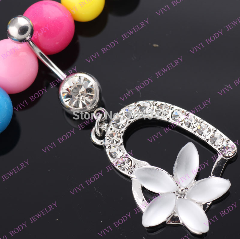 promotion!1pc 316 surgical steel peach heart Belly Rings Body Piercing navel ring(China (Mainland))