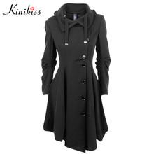 Kinkiss Fashion Long Medieval Coat Women Winter Black Stand Collar Trench Coat Elegant Gothic Women Coat Vintage Female 2017(China (Mainland))