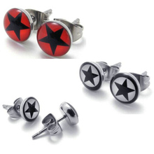 2014 Fashion jewelry Titanium Stainless steel Red White Men's Star Earring FREE SHIPPING(China (Mainland))