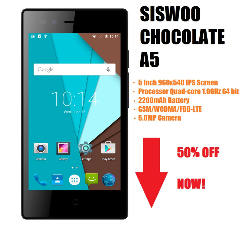 Original New SISWOO Chocolate A5 MTK6735M Quad Core Android 5.0 Smartphone Mobile Phone 5.0 inch IPS 5.0MP Camera 4G Bluetooth(China (Mainland))