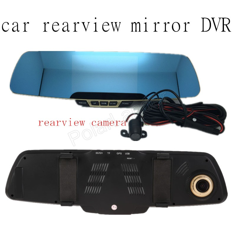 Car Dual cameras car dvr mirror rear view recorder 5 inch 170 degee wide viewing angle full HD car  video rearview hot sale <br><br>Aliexpress