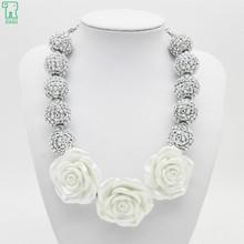 New 2015 Vintage kids chunky bubblegum pendants necklaces with white big resin luxury flower  2pcs / lot(China (Mainland))
