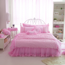 Cotton and Lace Bedclothes Pink Color Princess Girls King Queen Full Twin Bedding Set Bed Skirt Duvet cover set(China (Mainland))