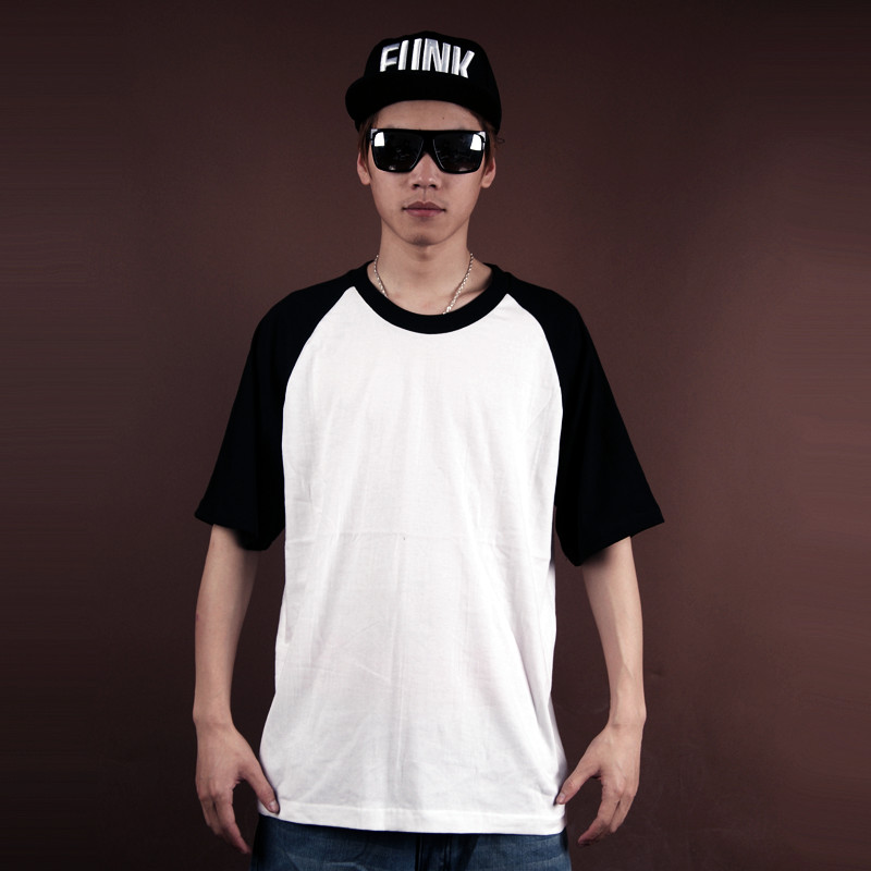 men tee shirt solid color street hiphop bboy daily wear hip-hop dancer raglan sleeve boys shirts new sports clothing cheap basic(China (Mainland))