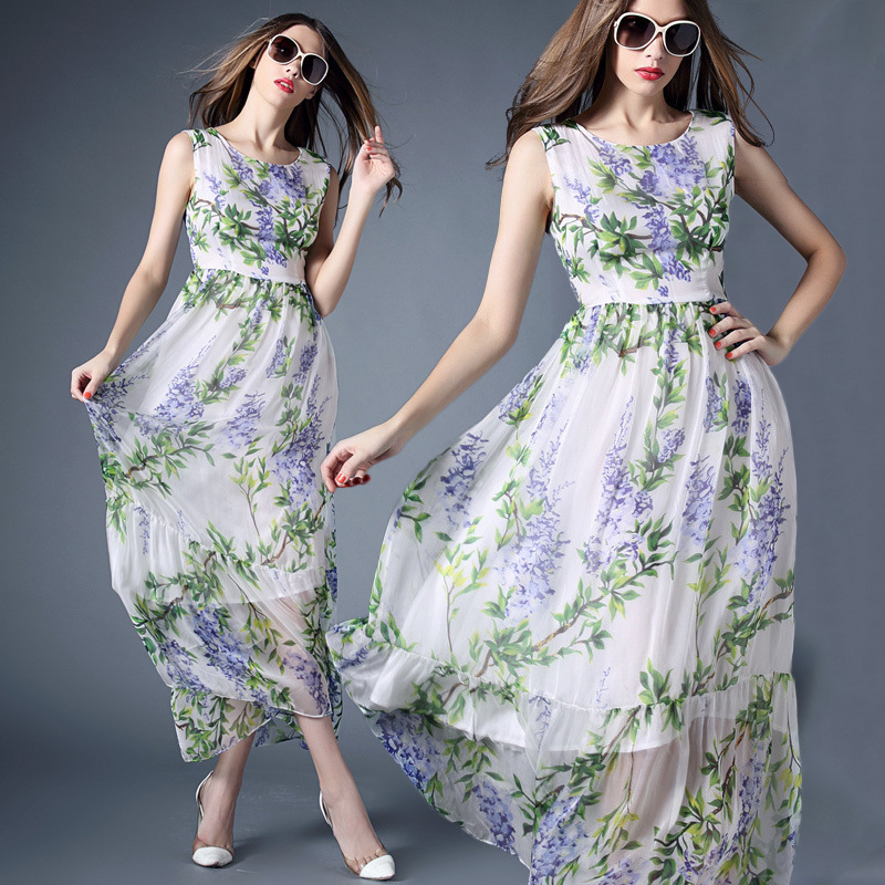 Casual Dresses 2015 Summer New Fashion Famous Brand Dresses White Sleeveless Elegant Flowers Print Slim Silk Long DressОдежда и ак�е��уары<br><br><br>Aliexpress