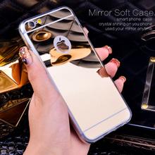 Мода роскоши зеркало мягкий чехол для Iphone 6 6 S 4.7 дюймов тпу рамка для Iphone 6 6 S плюс 5.5 Ultra Slim ясно телефон чехол