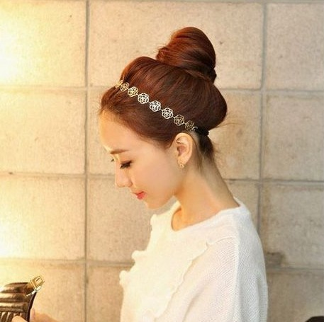 New Design Fashion Charm Vintage metal flower Rose Headband High quality lady hair accessories for women 2014 PT37(China (Mainland))