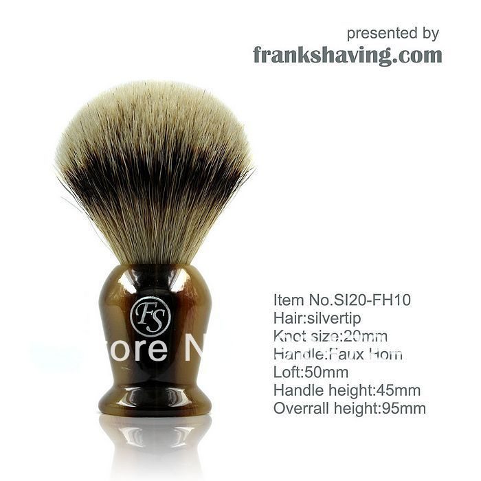 Frank Shaving Manchurian Silvertip Badger Brush,Faux Horn Handle, knot 20mm+FREE STAND SI20-FH10