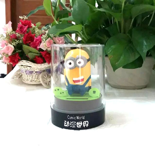 Free Shipping Retail Package Swing Under Full Light Car Decoration Novelty Comic World Toy Solar Dancing Despicable Me(China (Mainland))