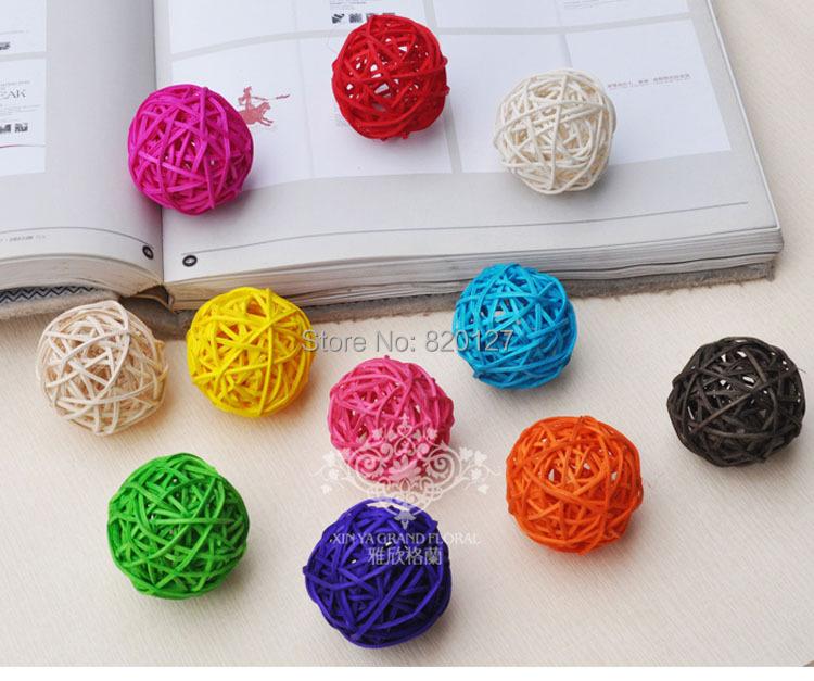 60pcs Size 3CM Mixed Color Handmade Bamboo Wicker Rattan Balls Basket Christmas Home Wedding Ornament Decoration(China (Mainland))