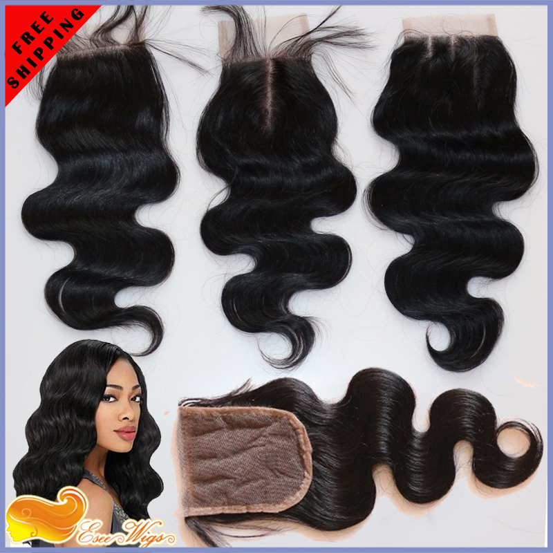 Free Shipping 6A Peruvian Lace Closure Unprocessed Virgin Hair Body Wave Bleached Knots Middle/Free/3part  Top Closure(China (Mainland))