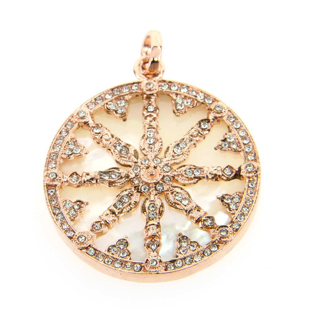 Thomas DIY Style 2 Colors Pearl Fritillaria Disc Wheel of Karma Pendants TMS Fashion Good Jewelry Fit TS Necklace(China (Mainland))