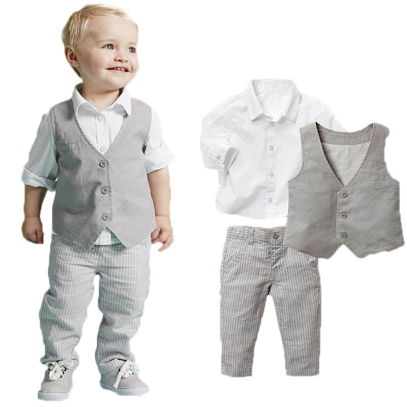 2016 Boys Clothing Sets Autumn Spring Shirt + Vest + Pants Boys Wedding Clothes Kids Gentleman Leisure Handsome Suit Free Ship(China (Mainland))