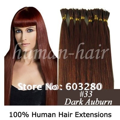 16inch/18inch/20inch Keratin glue stick tip Indian Remy hair extension 0.4g/0.5g #33 Dark auburn color 100pieces/Lot(China (Mainland))