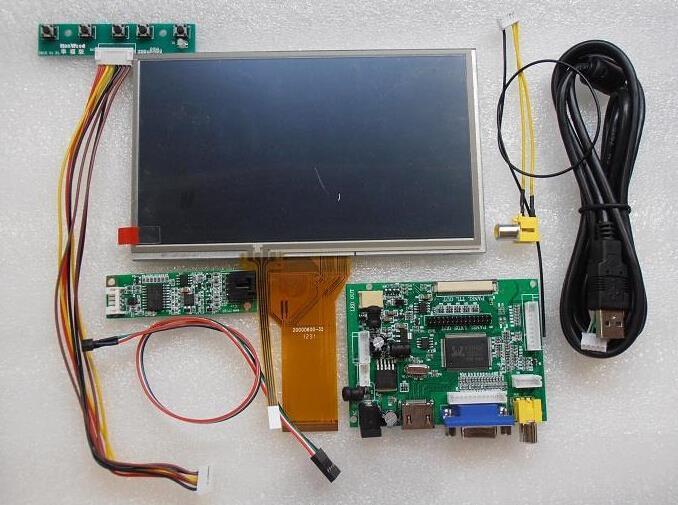 Tout nouveau 7 polegada Raspberry Pi LCD écran tactile Kit 1024 x 600 moniteur avec affichage de voiture moniteur HDMI VGA USB AV(China (Mainland))