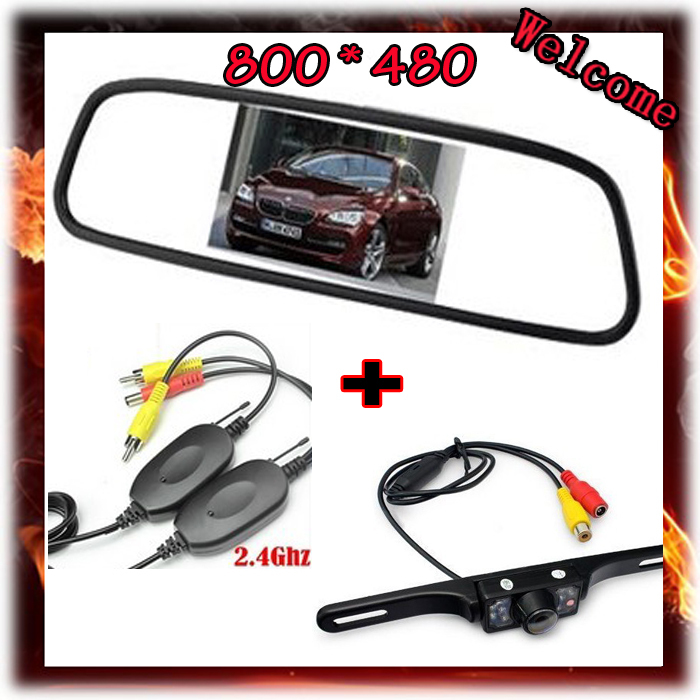 Wireless 5-Inch HD Rear View Camera Mirror Monitor 800*480 DC 12V Car Monitor+ License Plate Parking IR LEDS Night Vision Camera<br><br>Aliexpress