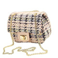 Mini Korean Style Chain Bag Women Designer Ladylike Shoulder Bag Designer Woolen Fabric Ladies Classy Classy