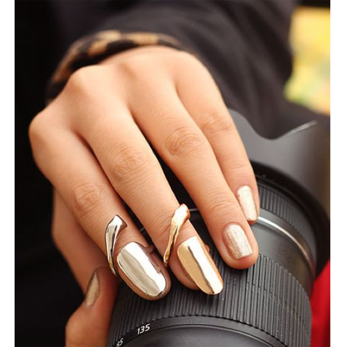 2 Pcs/Lot Sale New Arrival Women Gold Or Silver Alloy Fashion Long Finger Tip Nail Ring B00087(China (Mainland))