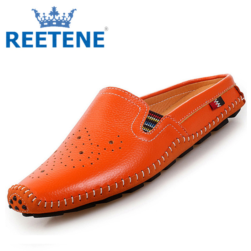 Genuine Leather Loafers Men Shoes,Fashion Sandals Shoes,Breathable Flats Shoes,Casual Shoes Mocassins - REETENE store
