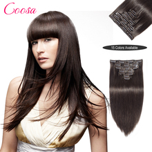 Hot Sell Clip In Straight Hair Brazilian Clip In Hair Extensions Full Head Clip In Human Hair Extensions 100% Human Remy Hair