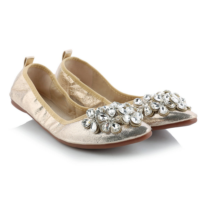 Slip On Pointed Toe Basic Miss Shoes,Ballet Flats Rhinestone Flower Casual Spring Autumn Women Flats Shoes Size 33-39 Golden