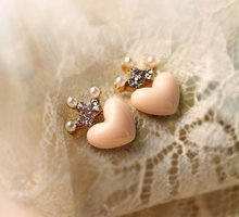 $10 (mix order) Free Shipping Mellow Pink Crystal Crown Peach Heart Love Drop Earrings E1